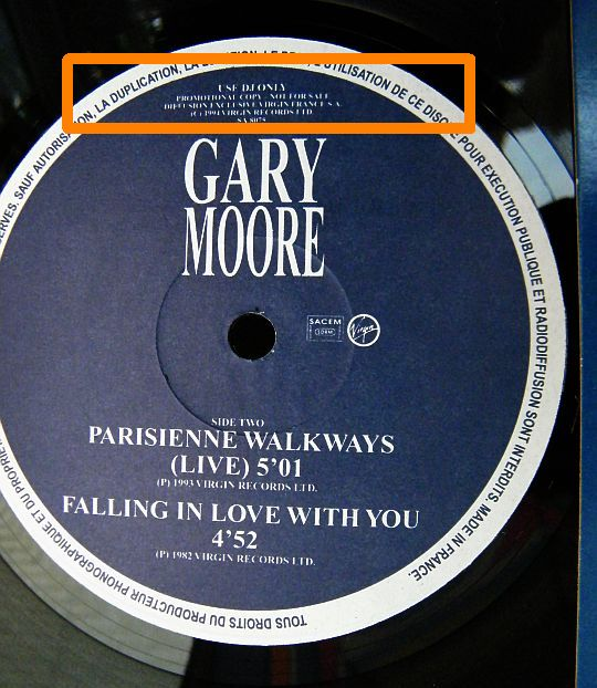 face B du maxi promo Collector de Gary Moore avec Parisienne walkways