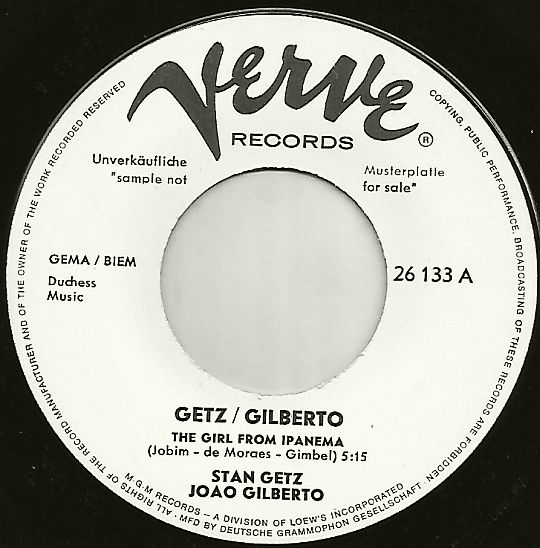 45t promotionnel Verve face A de Getz-Gilberto - The girl from Ipanema