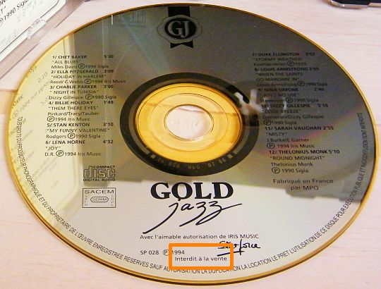CD Collector doré Gold Jazz - 12 grands noms du jazz