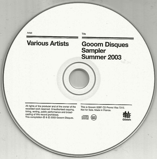 CD promo not for sale du sampler GOOOM summer 2003