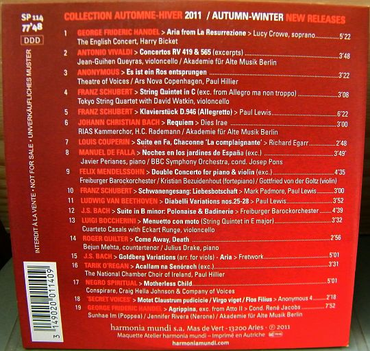 verso du CD sampler Collector promo HM News 2011