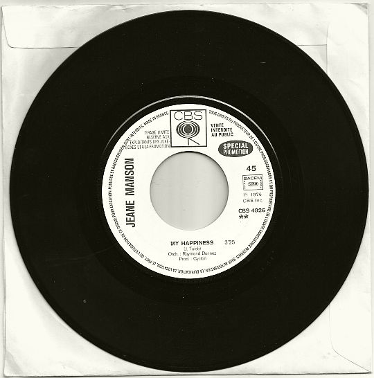 45t promo/juke-box de Jeane Manson - My happiness