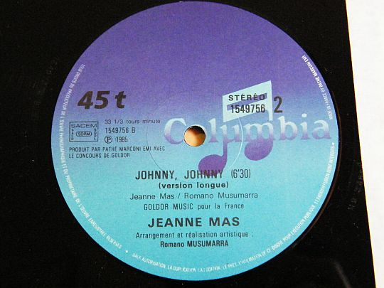 face B du maxi 45t Collector de Jeanne Mas - Johnny Johnny version longue