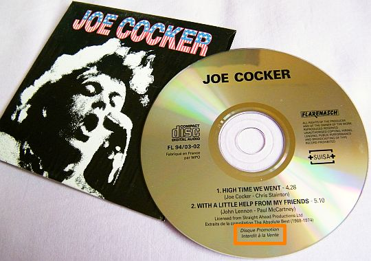 cd single promo de Joe Cocker Collector - High time we went + With a little help from my friends