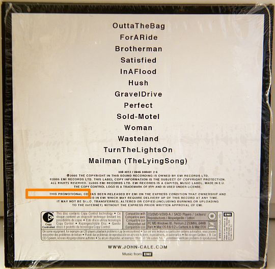 verso de la pochette du CD sampler Collector de John CALE - Black Acetate PROMO
