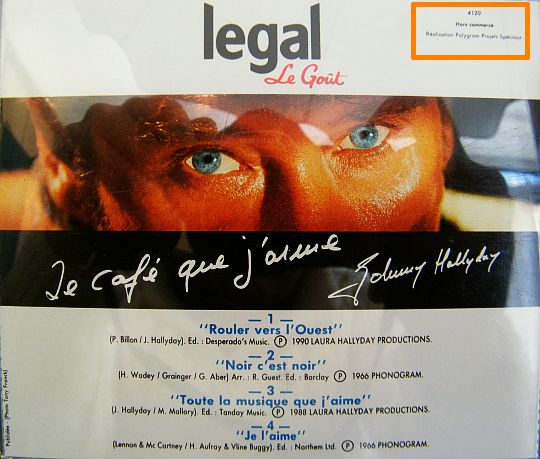 verso du CD LEGAL par Johnny Hallyday