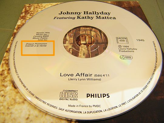 disque compact Collector promo single de Johnny et Kathy - Love affair