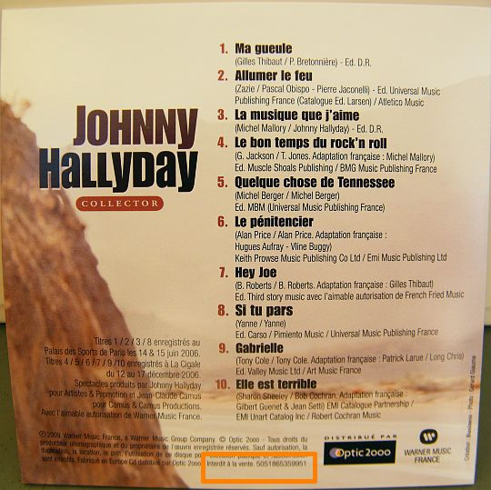 verso du CD 10 titres Collector Optic 2000 avec Johnny Hallyday