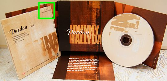 CD promo monotitre Pardon de Johnny Hallyday