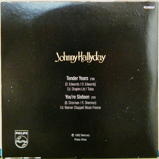 pochette verso Collector noire de Johnny Hallyday tender years