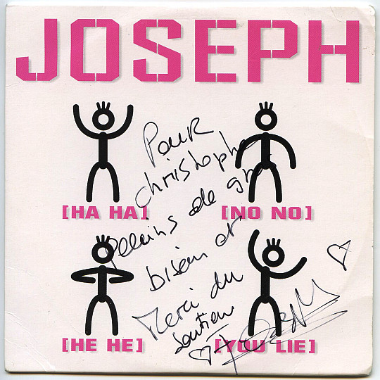 recto dédicacé du maxi CD single de Joseph Pepino - Ha ha ! No no ! He He !