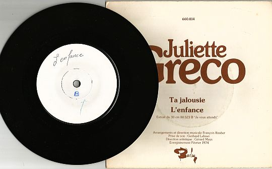 face B du SP White Label de Juliette Gréco - L'enfance