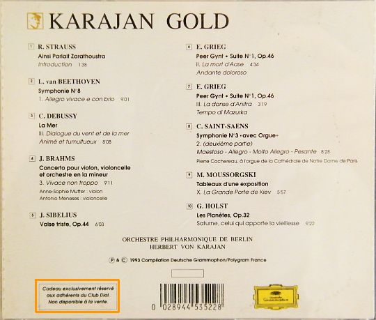 pochette verso du CD sampler Collector Gold - Karajan