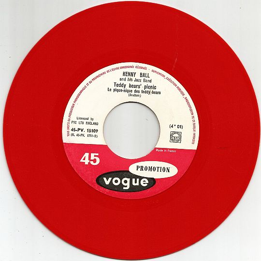45t rouge promo de Kenny Ball - Teddy Bears' picnic