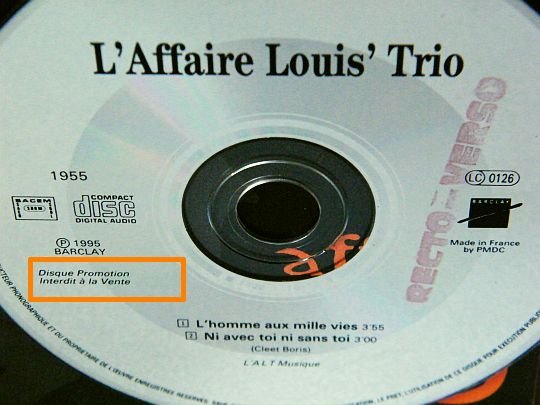 détail du CD collector promo advance interdit à la vente de l'Affaire Louis Trio - L'homme aux mille vies