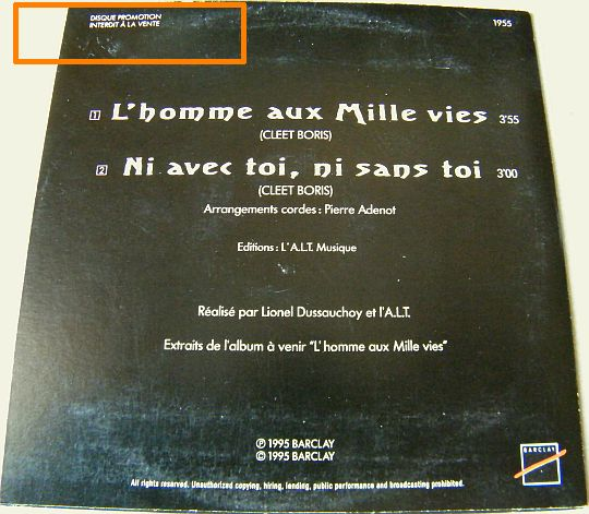 verso du CD Collector advance promo de l'Affaire Louis Trio - L'homme aux mille vies