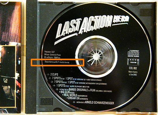 CD audio press kit Last Action Hero