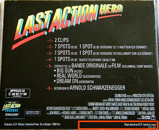 verso de l'Audio Press Kit LAST ACTION HERO