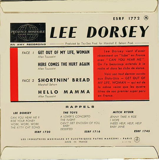 verso du super 45 tours de Lee Dorsey
