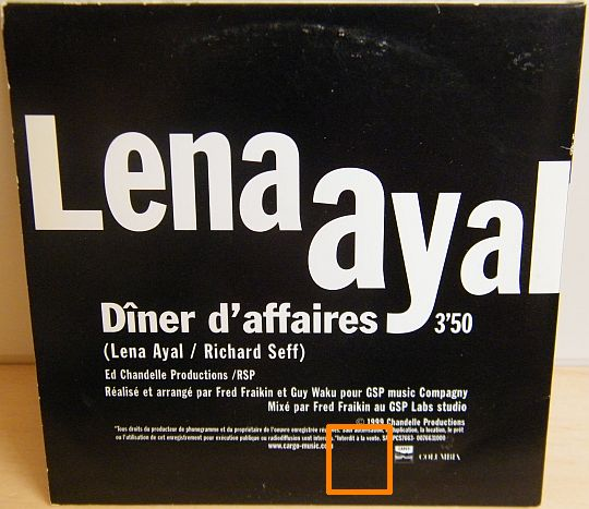 verso du CD Collector monotitre Dîner d'affaires par Lena Ayal