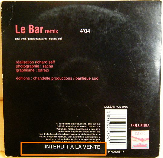 verso du CD Collector monotitre de Lena Ayal - Le Bar (remix)