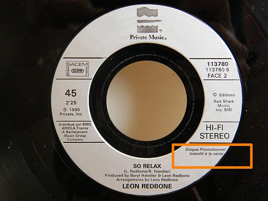 So relax, favce B du 45 tours promo Collector de Leon Redbone