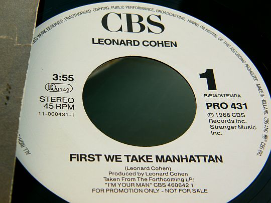 face 1 du SP promo Collector First we take Manhattan de Leonard Cohen