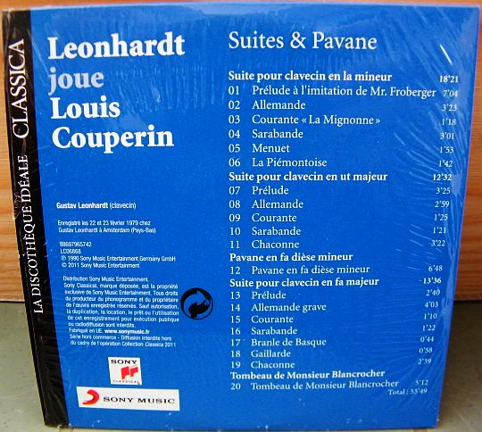 verso du CD sampler Collector Leonardt joue Couperin