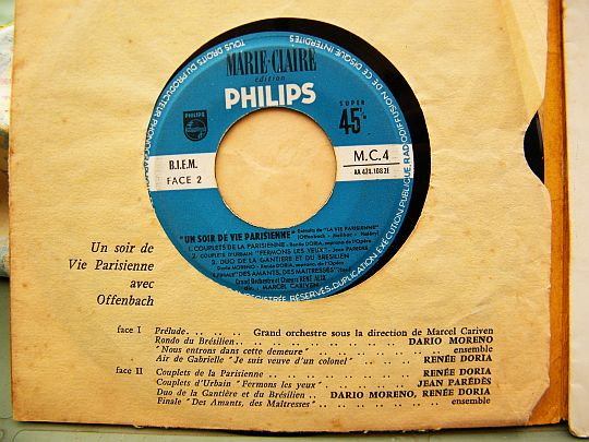 label central du E.P. Collector Marie-Claire - Philips