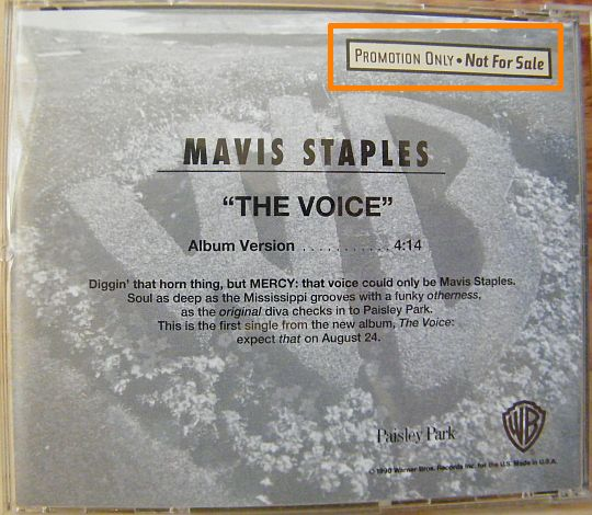 verso du CD monotitre promo de Mavis Staples - The voice