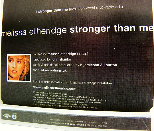 crédits du CD single monotitre de Melissa Etheridge Stronger than me