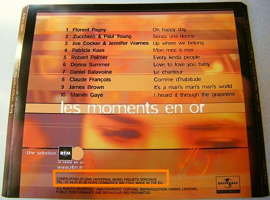 jaquette verso de la compilation Collector RFM Moments en Or