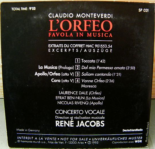 verso du CD sampler Collector L'orfeo de Monteverdi