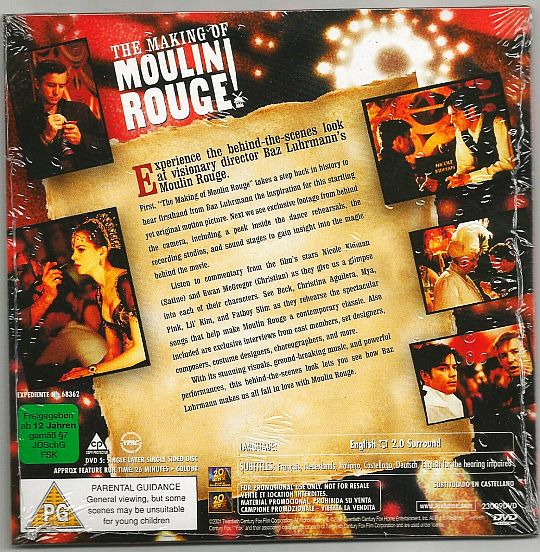 verso DVD making of Moulin Rouge