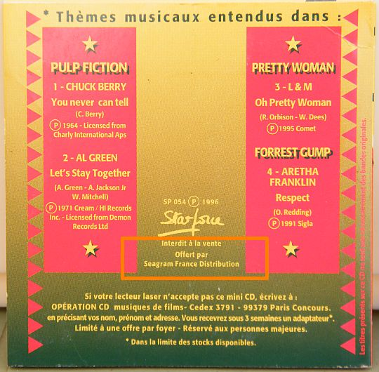 verso de la pochette cartonnée du mini-CD sampler Collector Four Roses