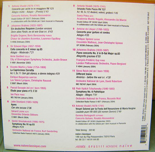 verso du CD sampler Collector promo Naïve Classique printemps 2004