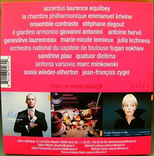 verso du CD sampler Collector promo Naïve Classique printemps 2011