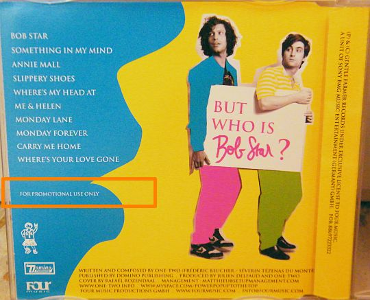 verso pochette du CD advance promo Collector The story of Bob Star par One-Two