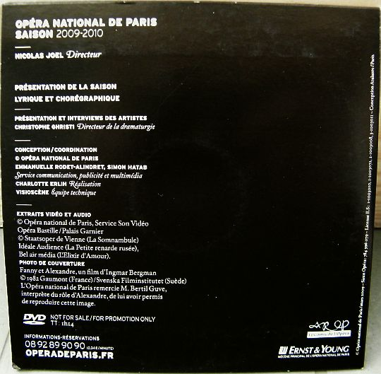 verso du DVD collector 2009-2010 de l'Opéra National de Paris