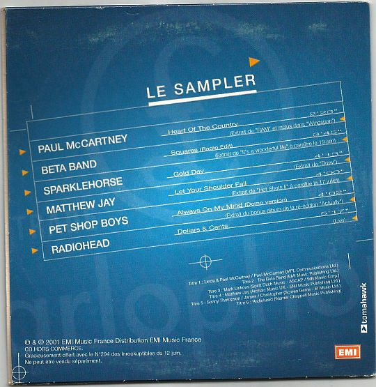 verso du CD sampler hors commerce Parlophone/Inrockuptibles