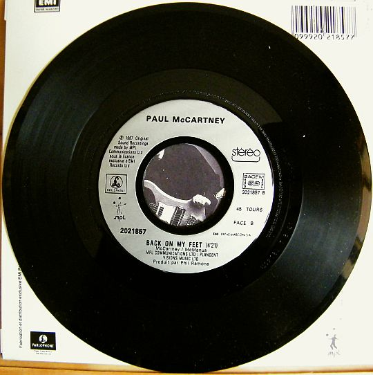 face 2 du 45t promo de MacCartney - Back on my feet
