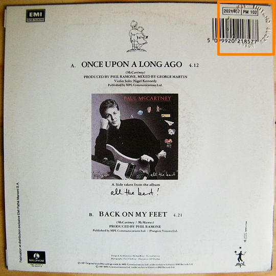 pochette verso du 45t promo de MacCartney - Once upon a long ago