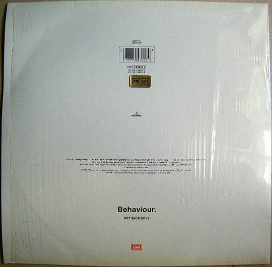 verso de l'album promo Behaviour des PET SHOP BOYS