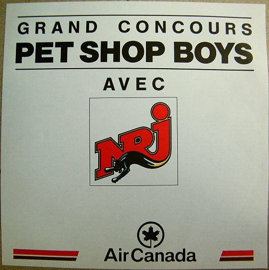grand concours Pet Shop Boys avec NRJ, Air Canada, EMI France