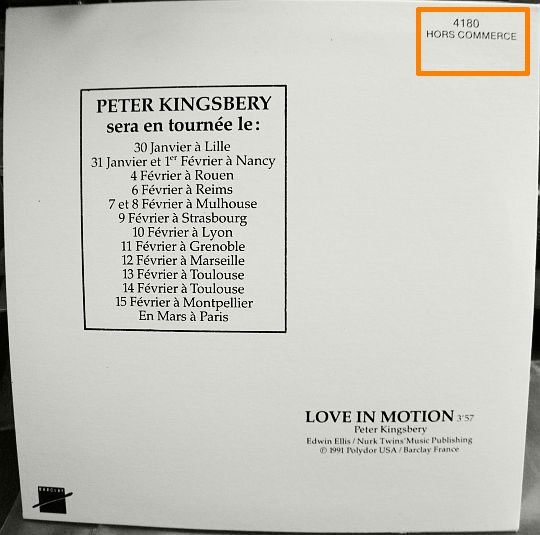verso du CD monotitre Collector de Peter Kingsbery - Love in motion (version radio)