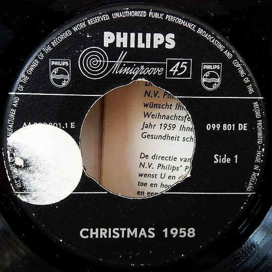 Christmas 1958, label Philips Minigroove 45 face A