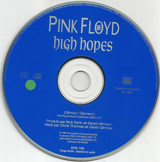 CD sampler promotionnel monotitre en tirage limité des PINK FLOYD - High hopes