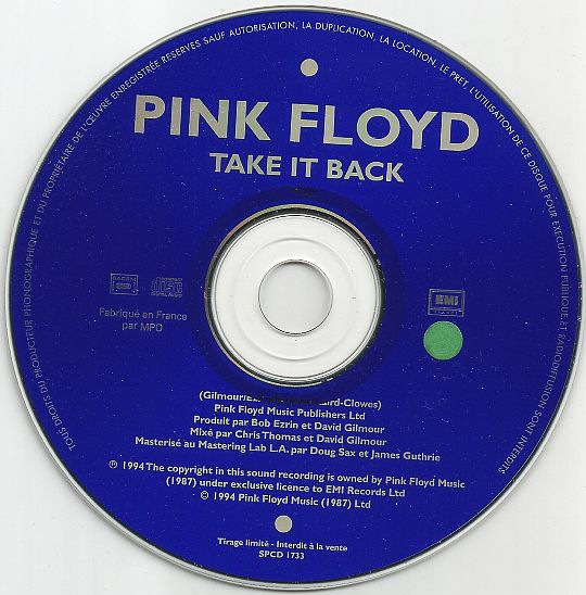 CD monotitre promo des Pink Floyd - Take it back