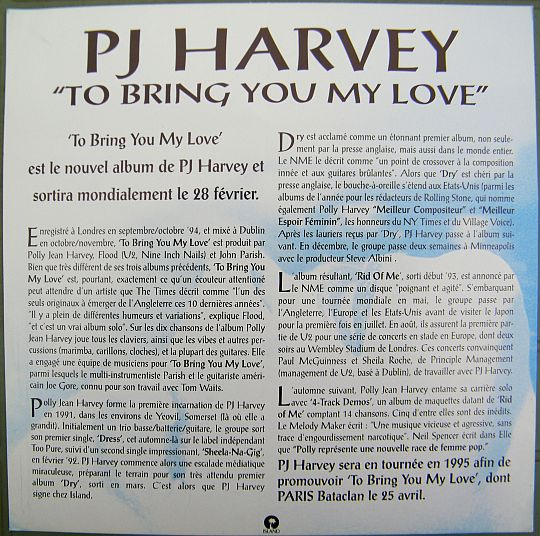 verso du feuillet promo de PJ Harvey pour To bring you my love