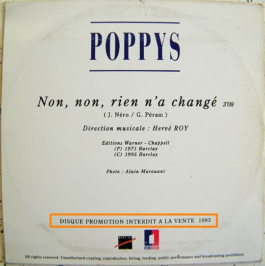 CD collector des Poppys verso